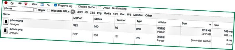 Exemple: l'image iphone.png se charge à partir de votre serveur pour la première fois (22,3 Ko en 349 ms) Toutes les demandes ultérieures pour récupérer cette ressource sont servies à partir du cache disque, ce qui signifie qu'elle est presque instantanément disponible (en 5 ms)
