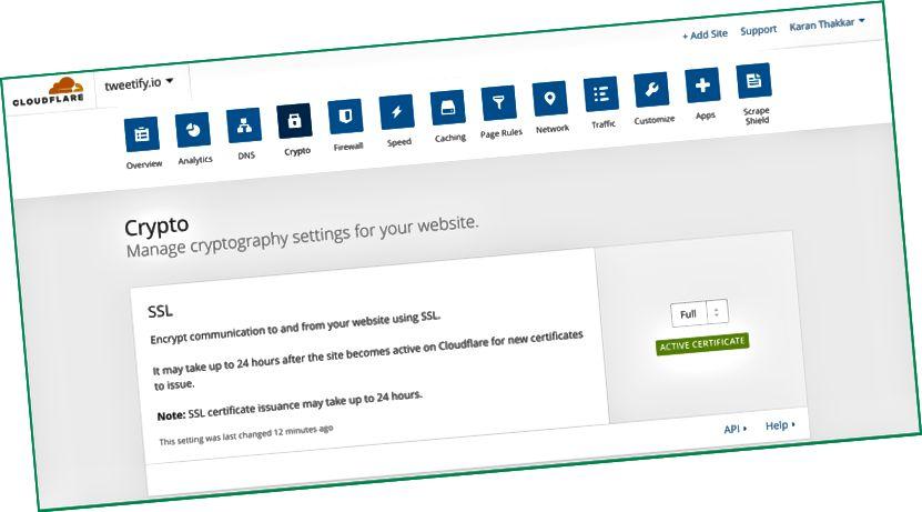 La section SSL affiche l'autorisation du certificat une fois que les modifications de votre serveur de noms ont été traitées. Une fois qu'un certificat SSL a été émis pour vous, ce message devient Active Certificate.