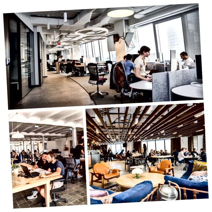 En haut et en bas à droite: BCG NYC Office. En bas à gauche: espace de coworking.