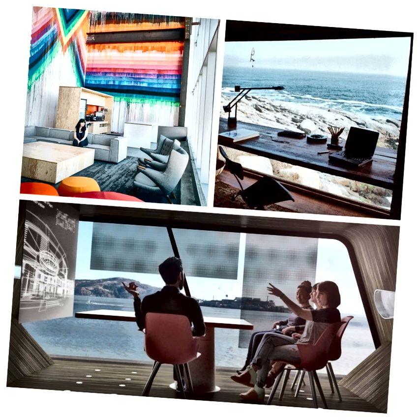 En haut à gauche: Facebook Building 20. En haut à droite: vacances à la plage. En bas: le concept Work on Wheels d'IDEO.
