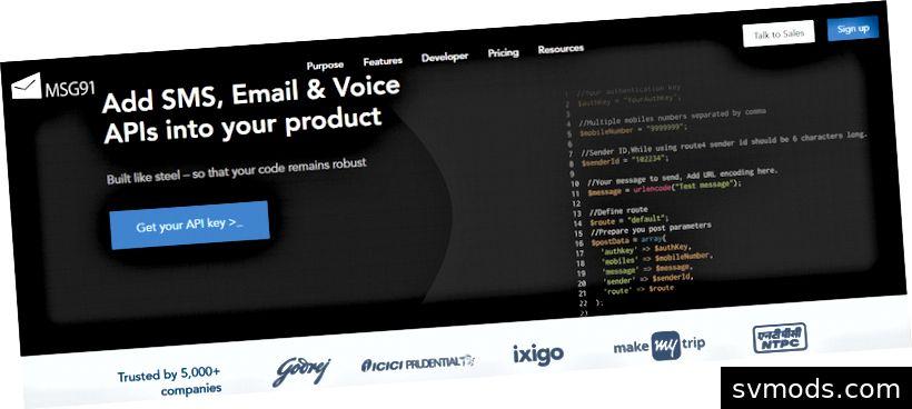 Homepage von MSG91