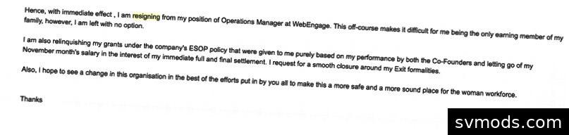 Az Avlesh Singh és a Web-Engage igazgatóságának lemondási e-mailje, miután úgy döntöttem, hogy felszólalok (II. Rész).