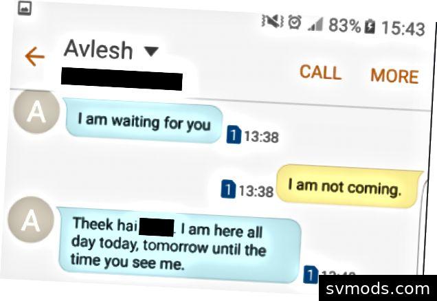 Az Avlesh Singh-től származó túlzott üzenetek a lemondó e-mailt küldték neki és az igazgatóságnak.