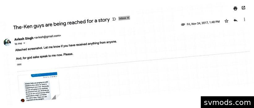 Miután ezt az e-mailt írtam, több médiás ember jutott hozzá. Folyamatosan azzal fenyegetett, hogy megbizonyosodjak róla, hogy nem mondom el, hogy mi történt valakivel.