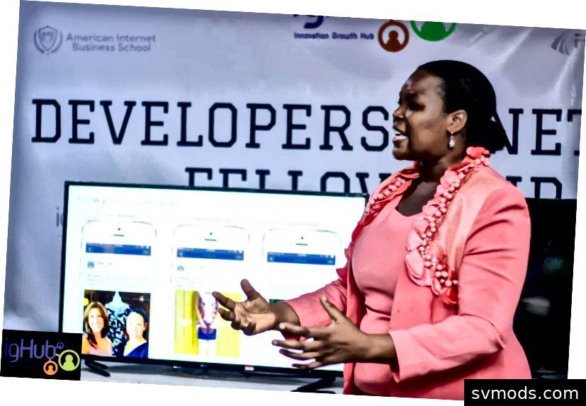Ein Trainer bei einem BYB-Event im Innovation Growth Hub Aba. Bild von ighub.com.ng