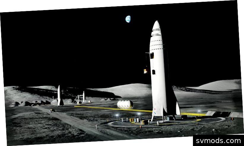 Raketenstart von einer Mondbasis aus geplant. Source SpaceX
