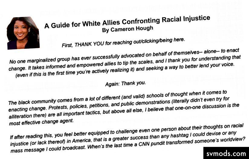 Volle Ressource: Ein Leitfaden für weiße Verbündete, die mit Rassenungerechtigkeit konfrontiert sind