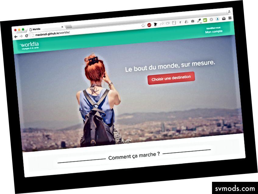 Một trang đích tôi thiết kế và mã hóa cho một trong những khách hàng Pháp của tôi.
