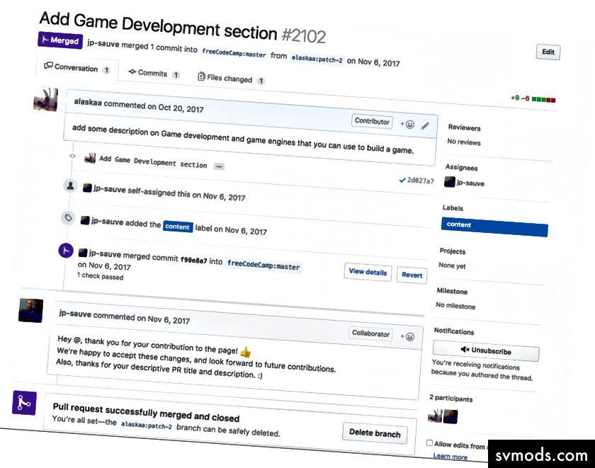 Pull Request for Game Development szakasz, amelyet a freeCodeCamp útmutatókhoz írtam