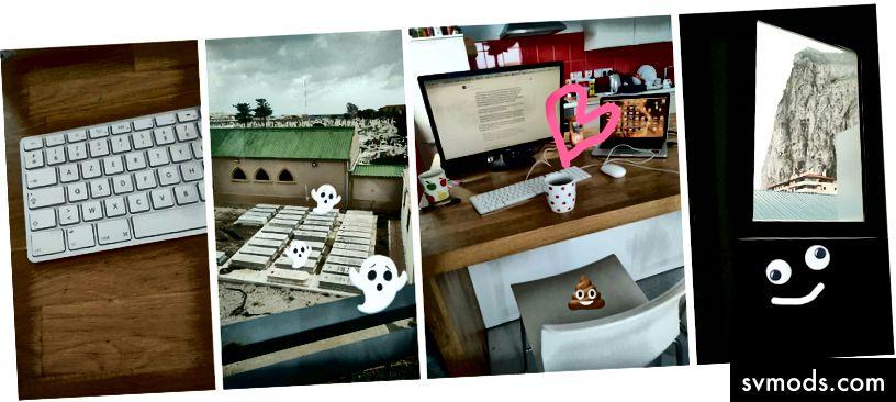 Kiri ke kanan: keyboard AZERTY, pemandangan indah, kursi yang aku benci, batu karang Gibraltar