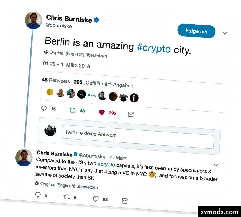 Berlin ist in der Tat eine erstaunliche Kryptostadt! Tweet von Chris Burniske