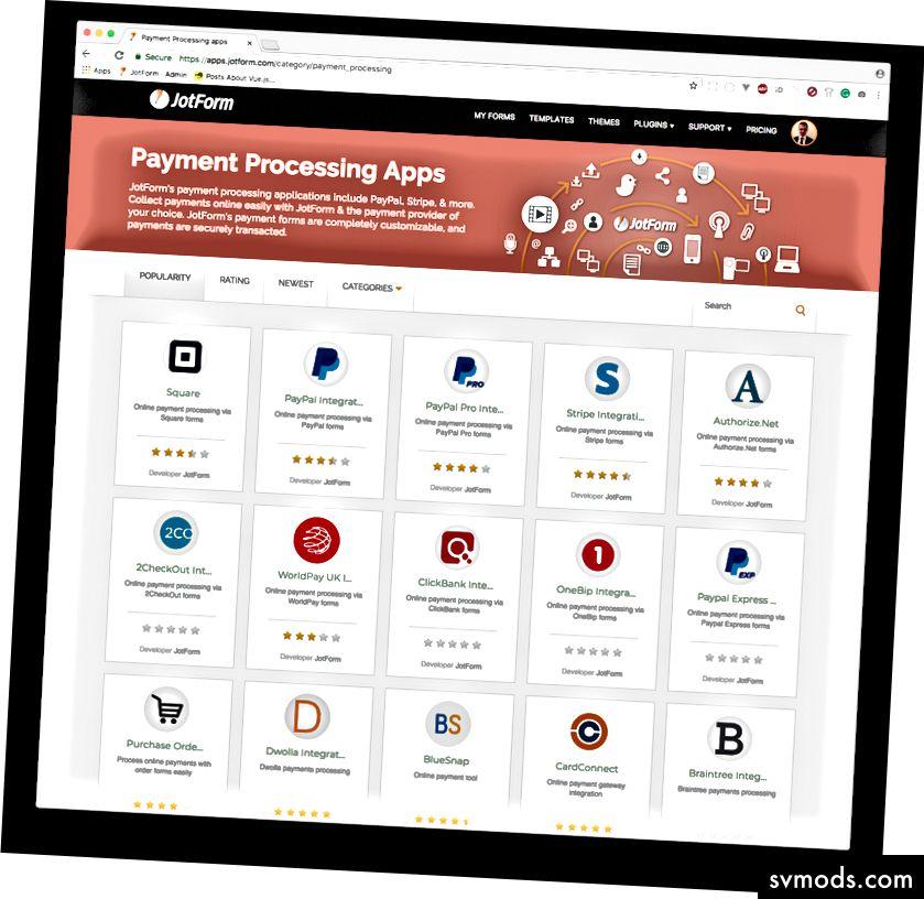JotForm unterstützt über 25 Zahlungsmethoden.