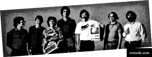 Aus dem frühen Macintosh-Team: Andy Hertzfeld, Chris Espinosa, Joanna Hoffman, George Crow, Bill Atkinson, Burrell Smith und Jerry Mannock
