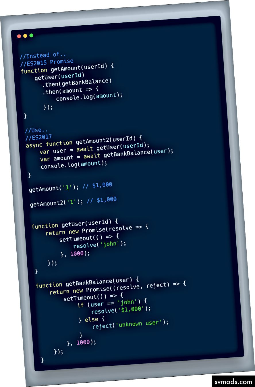 ECMAScript 2017 (ES 8) - Async Erwarten Sie ein einfaches Beispiel