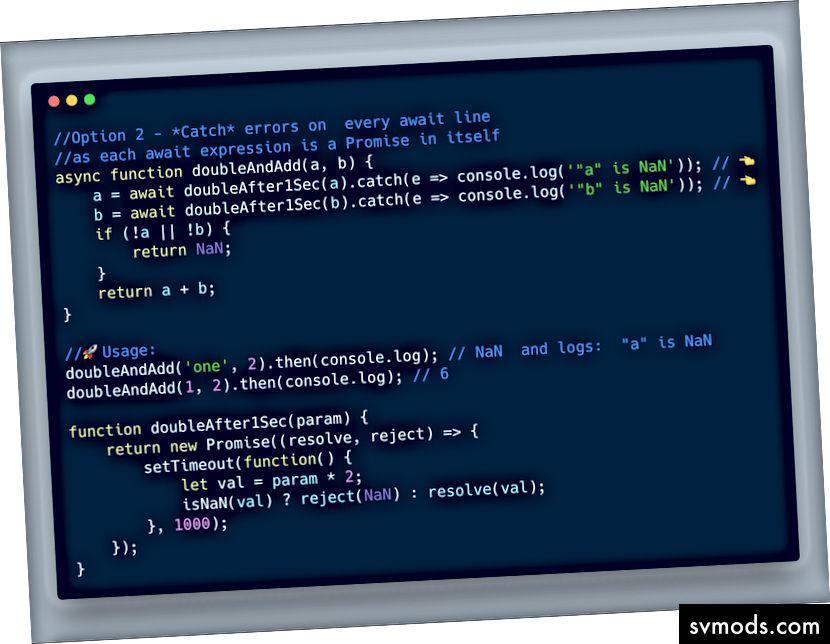 ECMAScript 2017 - Verwenden Sie try catch für jeden erwarteten Ausdruck