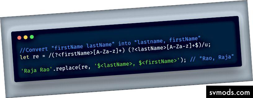 ECMAScript 2018 - Verwenden der RegEx-Funktion für benannte Gruppen in der Ersetzungsfunktion