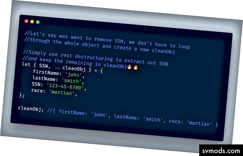 ECMAScript 2018 - Objektzerstörung durch Ruhe