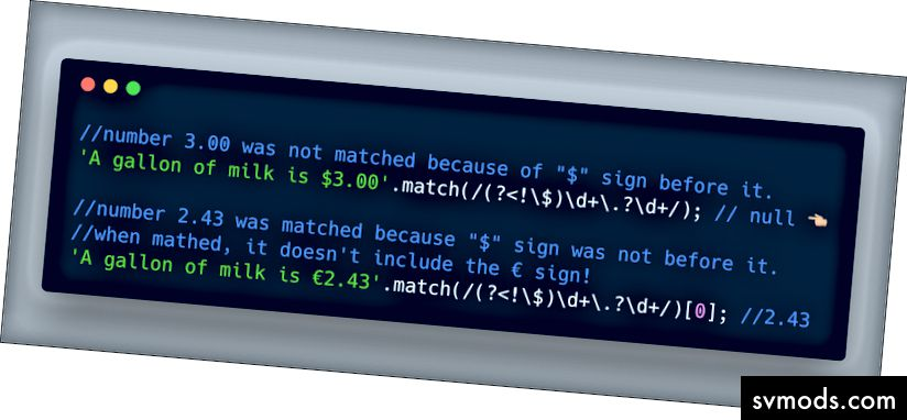 ECMAScript 2018 - (? <!…) Für negative Behauptungen