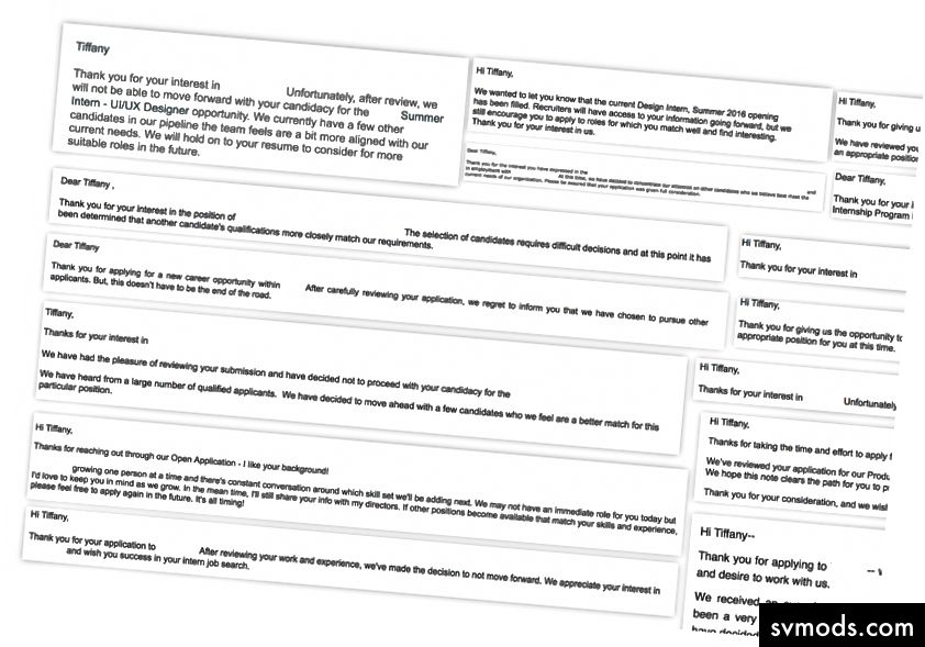 Einige der vielen Ablehnungs-E-Mails, die ich erhalten habe