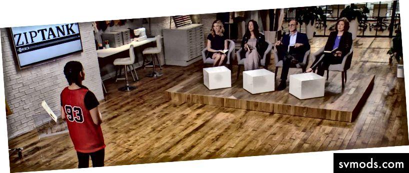 """Kaeya wirft einen Blick auf """"Project Runway: Fashion Startup"""". Investoren von links: Katia, Rebecca, Gary und Christine."""