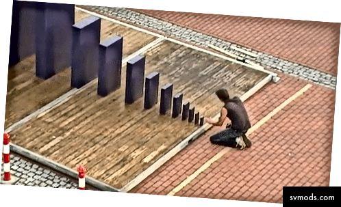 Bildnachweis: Gerrydomino. 2009 Weltrekord für den größten Domino-Zusammenbruch aller Zeiten.
