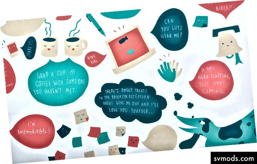 Suggerimenti per i nuovi dipendenti, dipinti sui muri durante un hackathon. Murale: Andrea Nguyen, Jeany Ngo, Katie Chen; Foto: Lenny Rachitsky