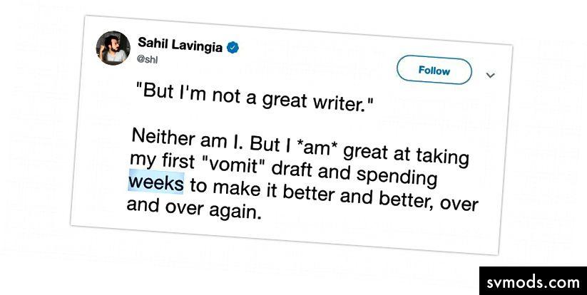 Tweet Sahil, pendiri Gumroad, tentang berapa lama waktu yang diperlukan untuk menyatukan cerita yang menarik ketika salah satu kisah terbarunya mendekati satu juta pembaca.