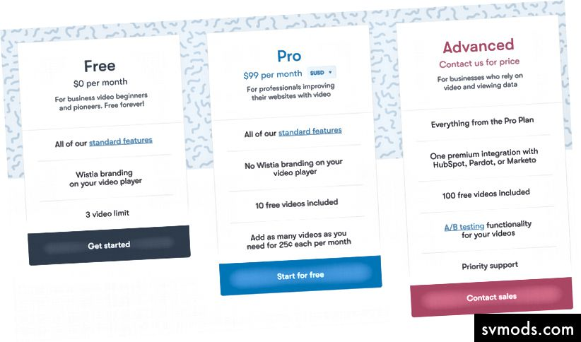 Quelle: Wistia Pricing Page