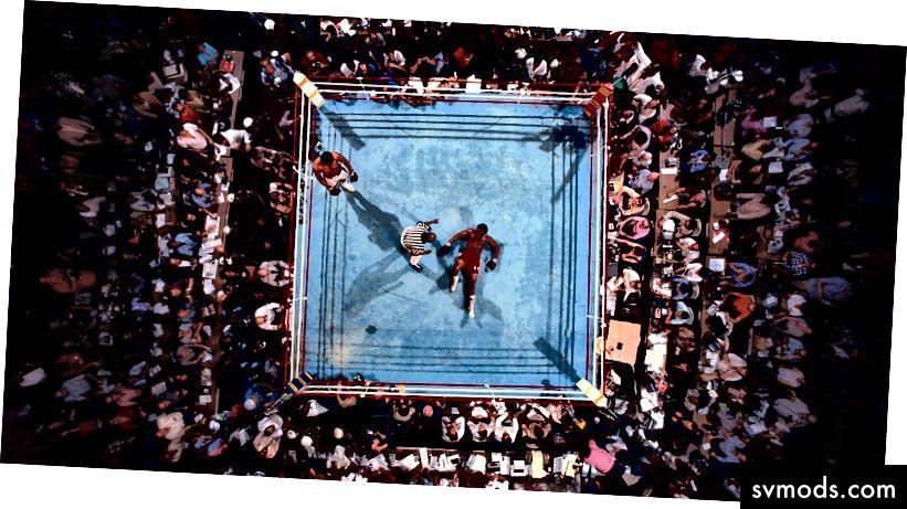 Neil Leifer 'Muhammad Ali vs George Foreman, 1974 Kelas Berat Dunia WBC / WBA'