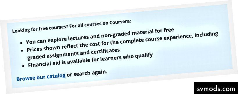 Ein Screenshot von Courseras Erklärung der kostenlosen Kurse.