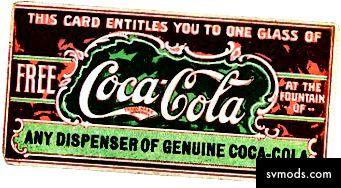 Úgy véljük, hogy ez az első kupon, ezt az ingyenes pohár Coca-Cola jegyet 1888-ban adták először az ital népszerűsítése érdekében.