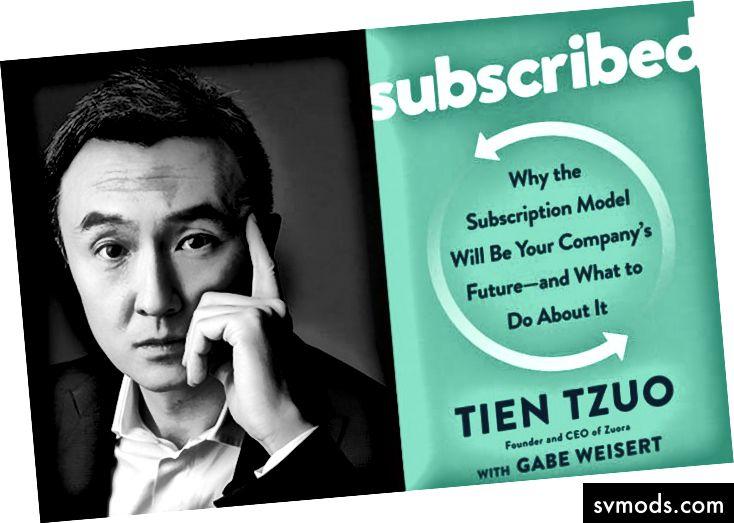 Tien Tzuo, CEO di Zuora, e la copertina del suo libro