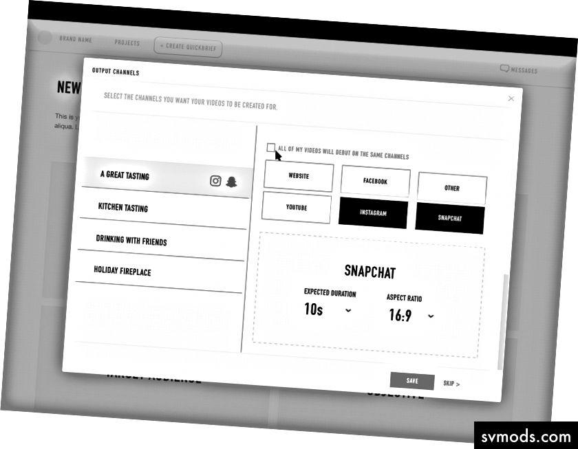 Một bản phác thảo thiết kế kinh nghiệm ban đầu cho công ty danh mục QuickFrame.