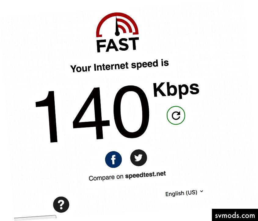 Dies ist ein Screenshot unserer Internetgeschwindigkeit, als wir in Ife waren