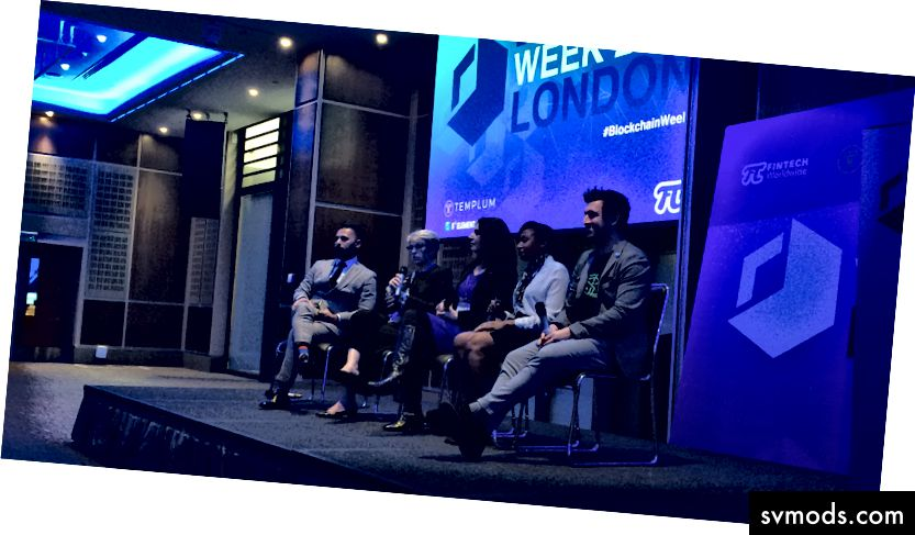 Panel Internasional Blockchain di London Blockchain Week Naeem Aslam, Kolumnis di Forbes, Lisa Short co-founder Mind Shifting dan Veronica Mihai pendiri Bloomwater Capital, Michelle Chivunga Nsanzumuco dari Surrey Business School