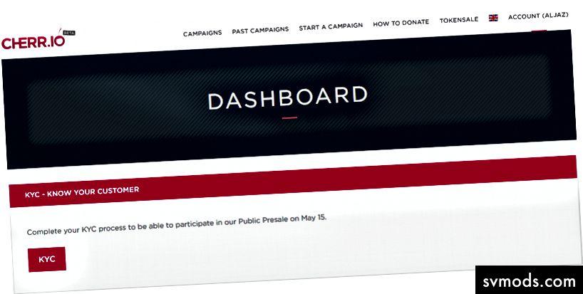 Dashboard - Starten Sie KYC