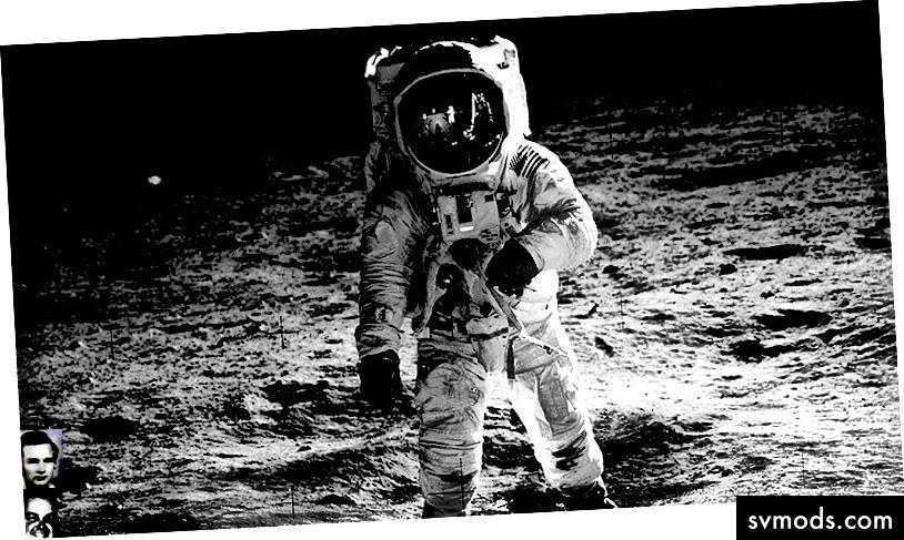 Neil Armstrong auf dem Mond (mit einem Plantronics-Headset)