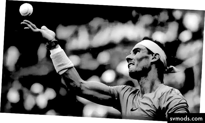 Fokus. Rafael Nadal, den Ball im Auge behalten.