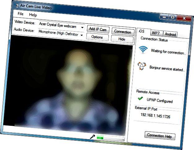 AirCam fő képernyő