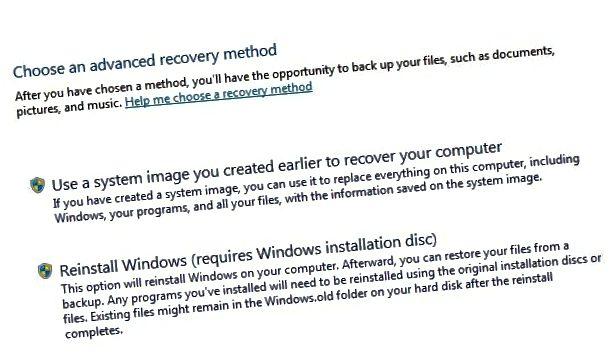 setja aftur upp Windows