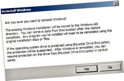 setja aftur upp Windows staðfesta