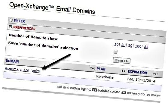 e-mail domain