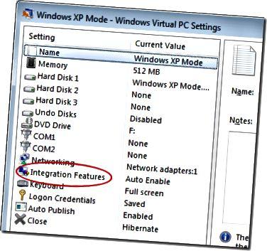 Spustelėkite XP režimo integravimo ypatybes