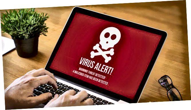 perspėjimas apie virusą
