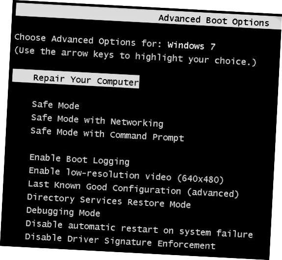 윈도우 7 부팅 옵션