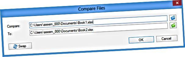 palyginti du Excel failus