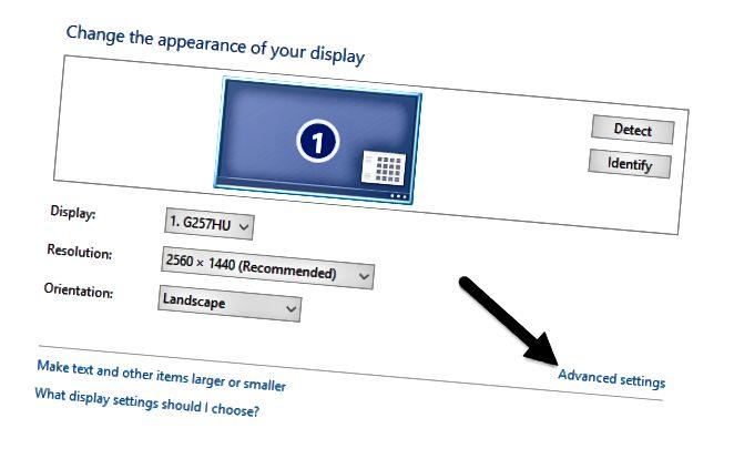 avancerede skærmindstillinger
