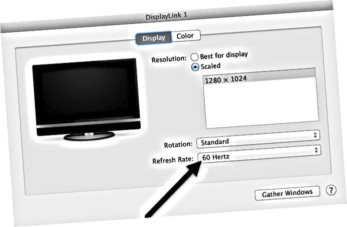 opdateringsfrekvens mac