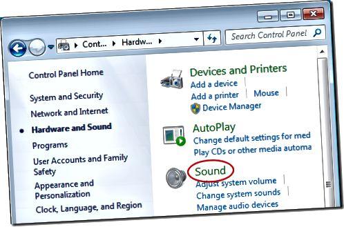 Gnéithe Fuaim Oscailte i Windows 7