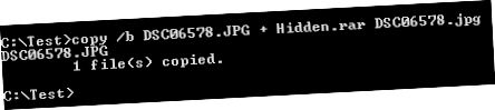 fájlok elrejtése JPG formátumban